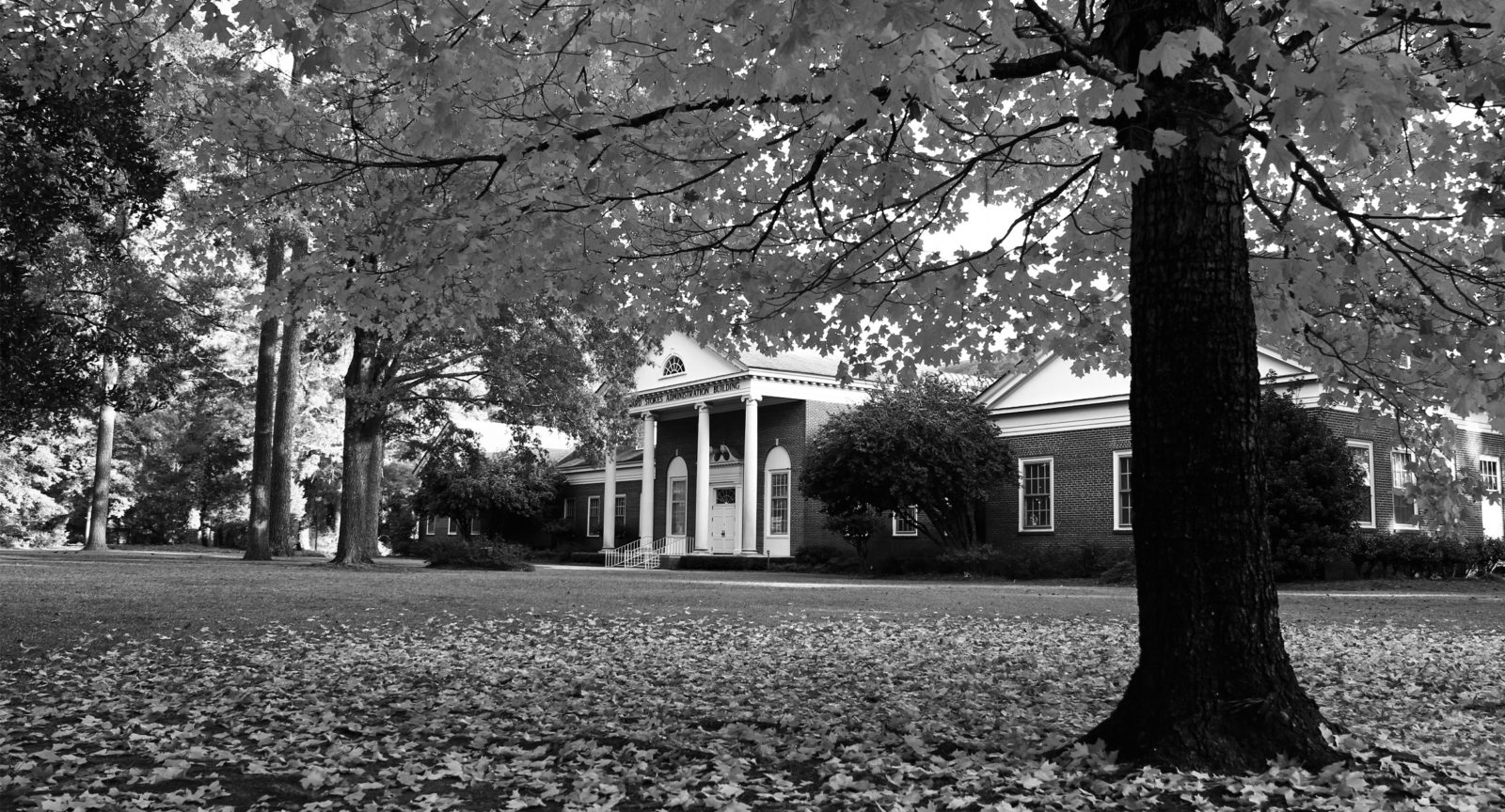 Stokes Administration Building in black and white