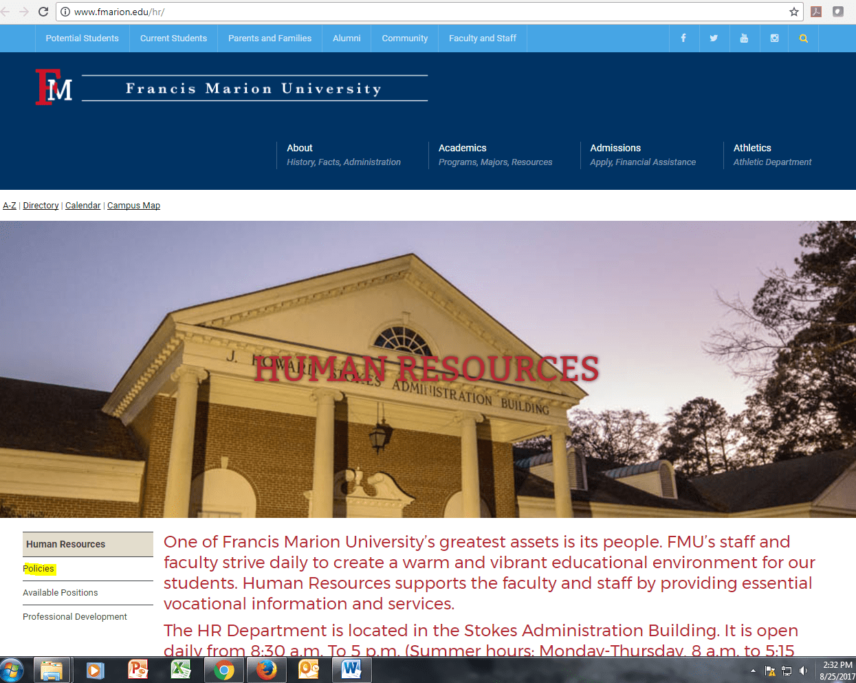 3 2 9 Personnel Appointment | Francis Marion University