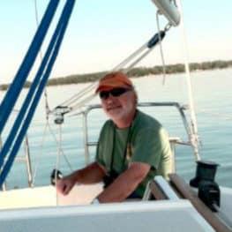Professor Broughton on a boat