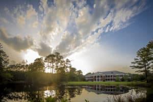 Durant Pond glistens in the morning sun.