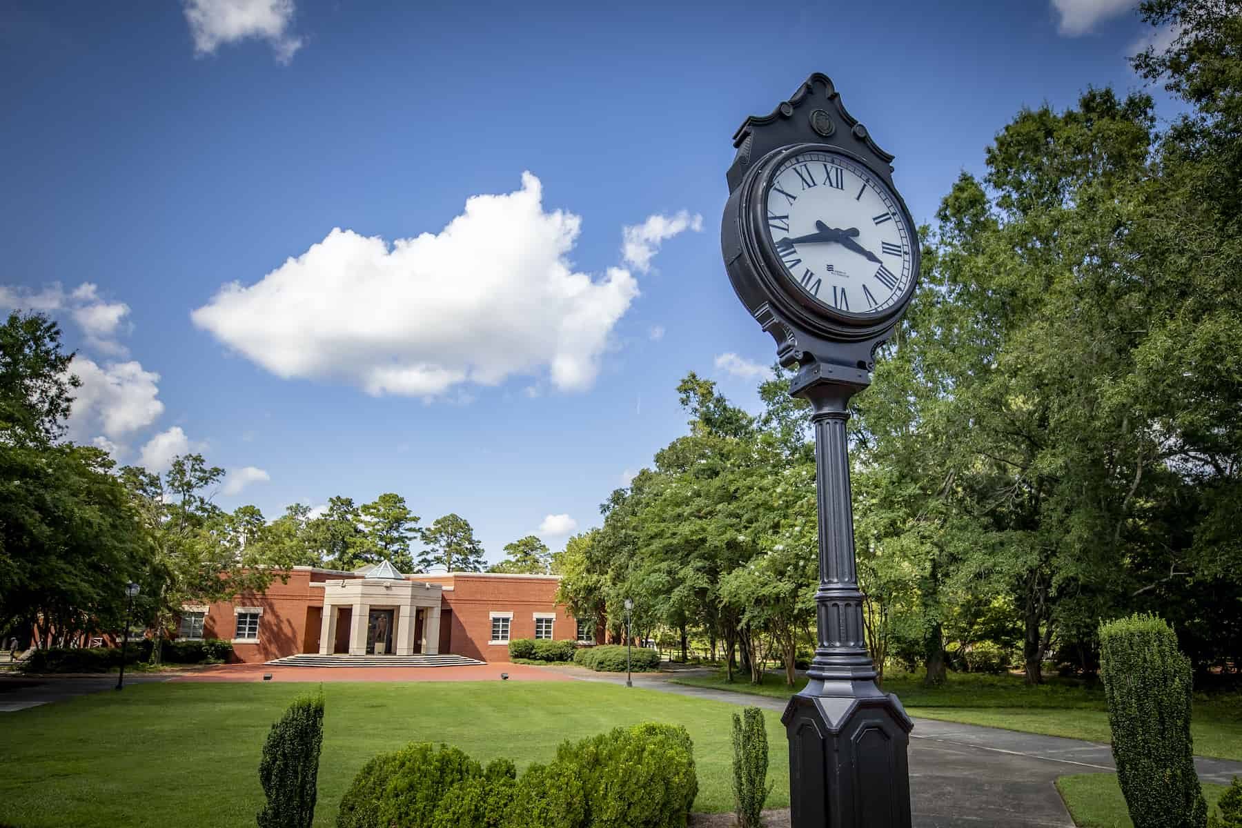 The clock in front of Stokes Administration