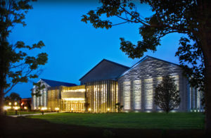 The Francis Marion University Performing Arts Center in the evening