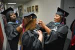 Graduates getting ready for commencement