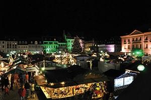 Nighttime view of Landau Market