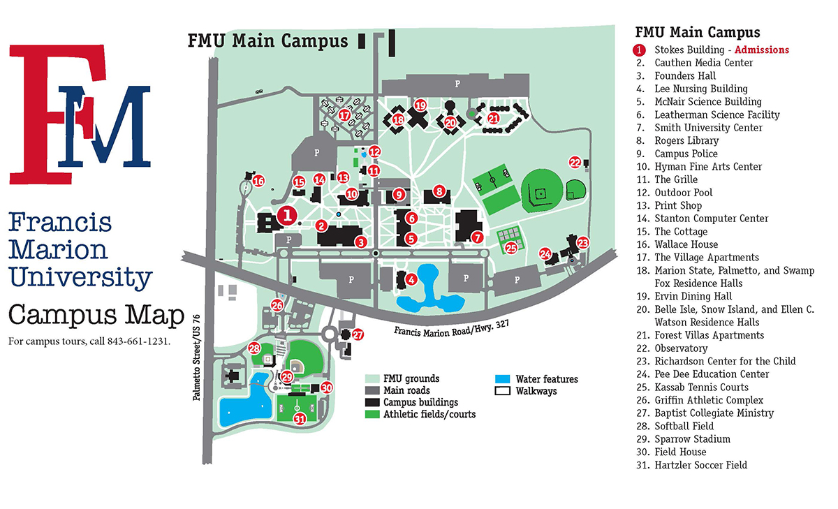 Northern Kentucky University Campus Map.Admissions Campus Visit Francis Marion University