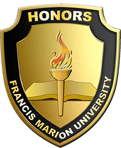 Francis Marion University's Honors Badge in black and gold
