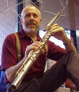 Photo of J. Sallenger with bass flute