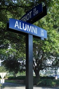 Alumni drive street sign located on FMU campus