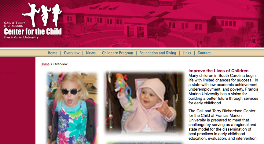 Webpage from the Center for the Child