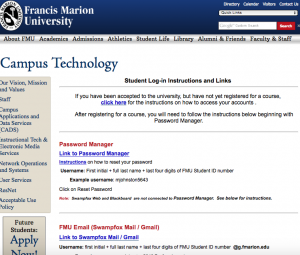 Login in instructions from campus technology