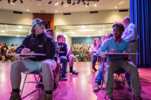 Students on stage at FMU Math Tournament