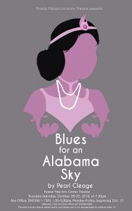 Flier for FMU Theatre's performance for Blues for an Alabama Sky