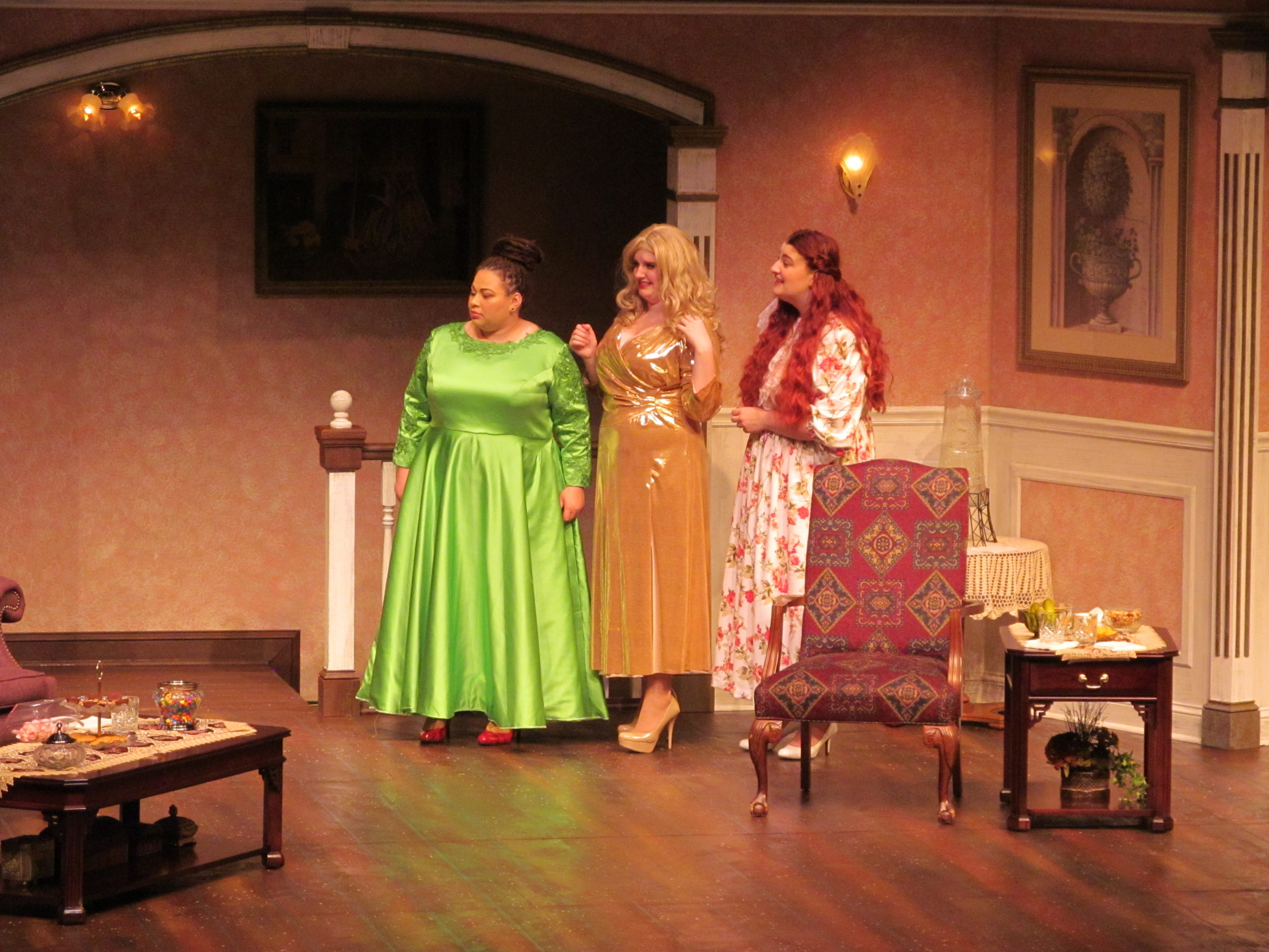 Three women performing Bridesmaids in the FMU Theatre