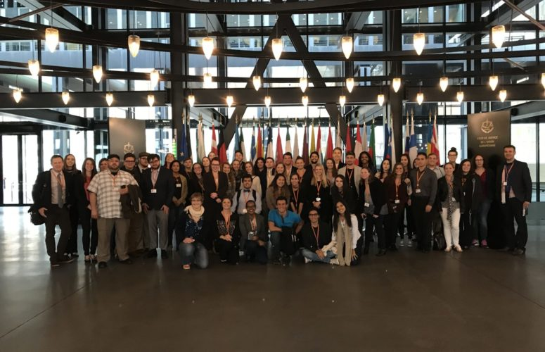 Group photo of students on the European Parliament Tour