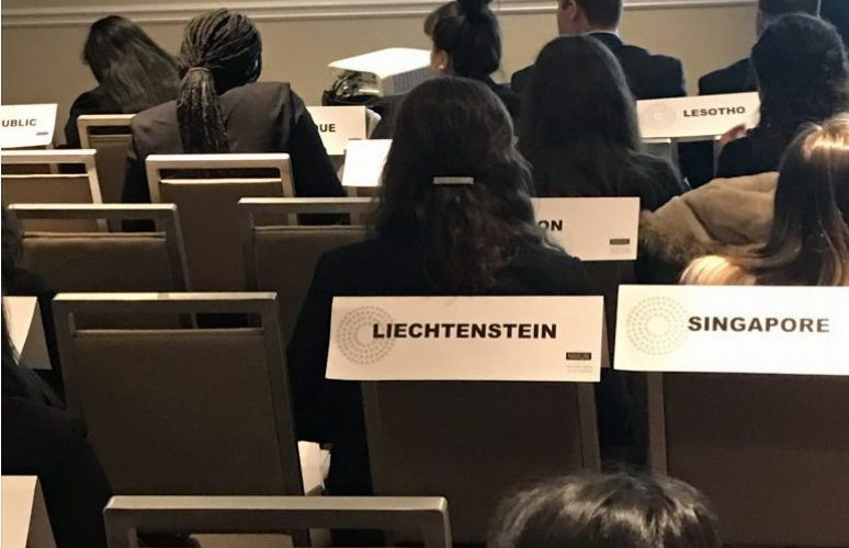 Students at the NMUN Caucusing