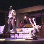 Two performers on set of A Raisin in the Sun