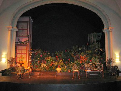 Front view of stage with props in the FMU Theatre