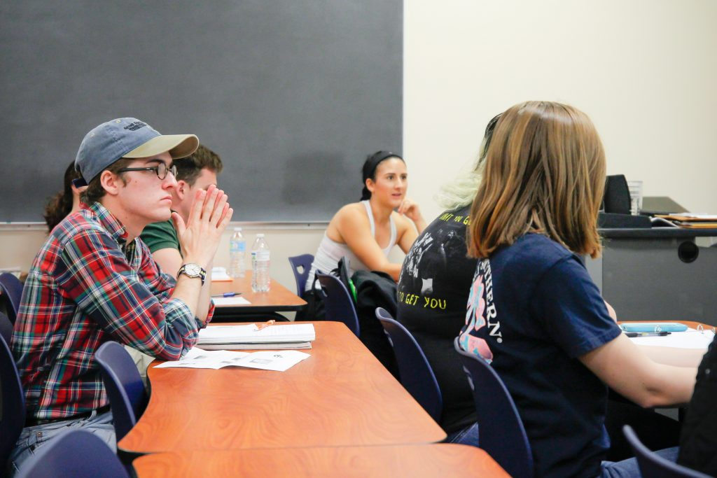 Students learning in their political science class