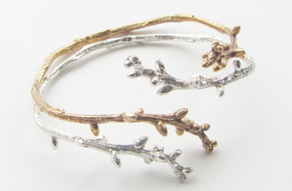 Bronze and Silver Twig Cuffs by Kate Furman