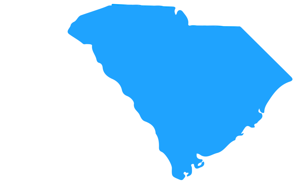 The state of South Carolina in blue