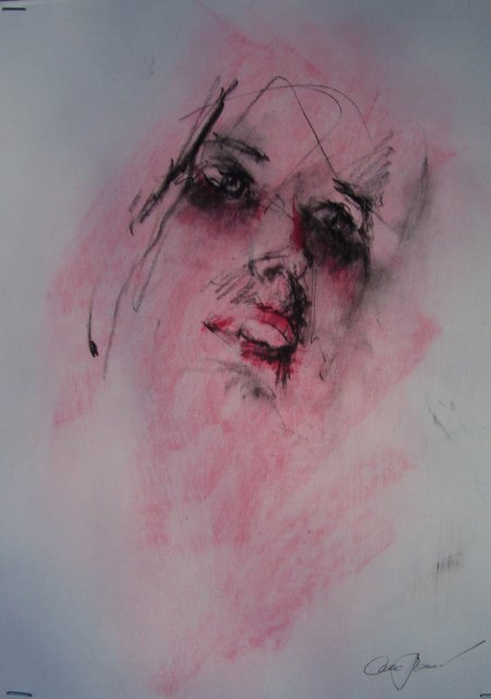 """Pink Lady"" by Alex Powers, drawing of a lady's face in black with a pink background"