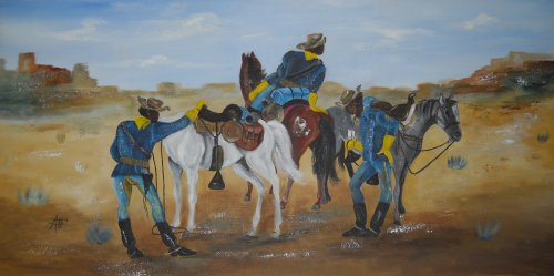 """Painting with people and horses called """"Courier Break"""""""
