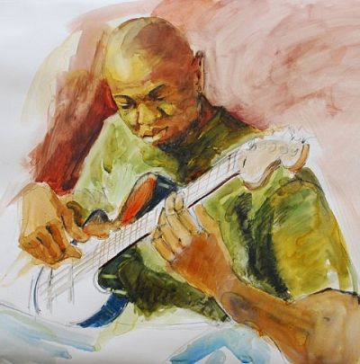 """painting of """"Playing the Blues"""" by Claire Farrell"""