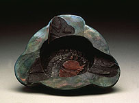Very dark Aztec Bowl, raku, 1994 with dad background
