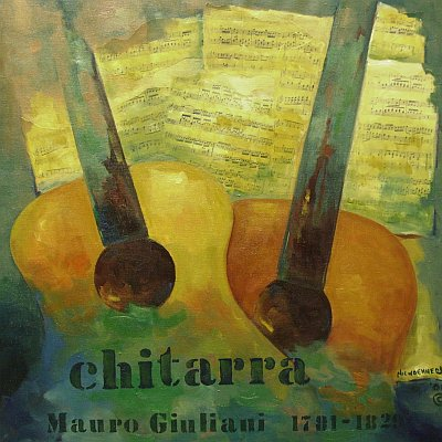 Chitarra painting with two guitars, by Ev Niewoehner