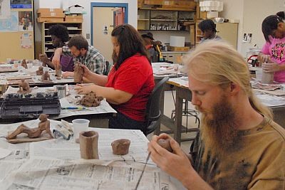 Students working on their sculptures