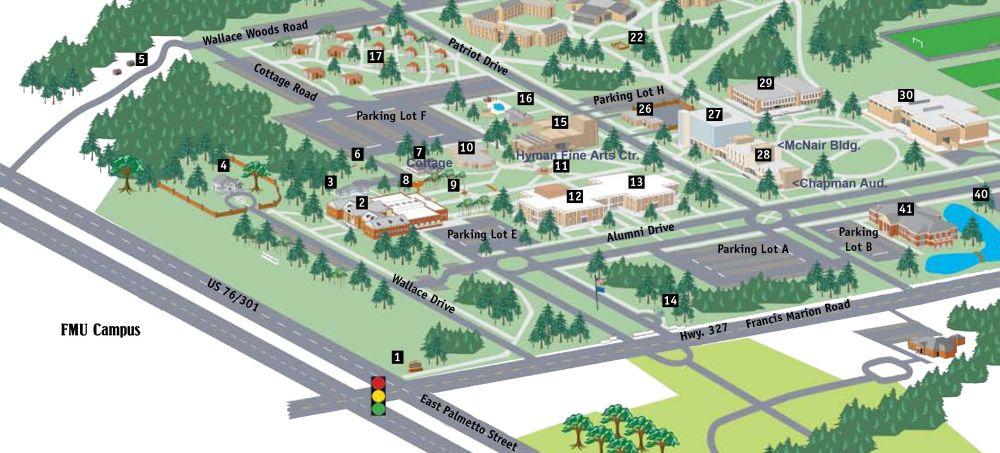 Saint Francis University Campus Map.Fine Arts Maps Francis Marion University