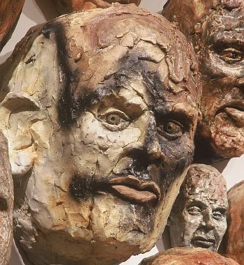 Closeup of very detailed sculpture of man by Geoff Calabrese
