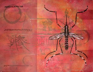 """Finalzoonosisdream"" in red with a insect painting by Greg Fry"