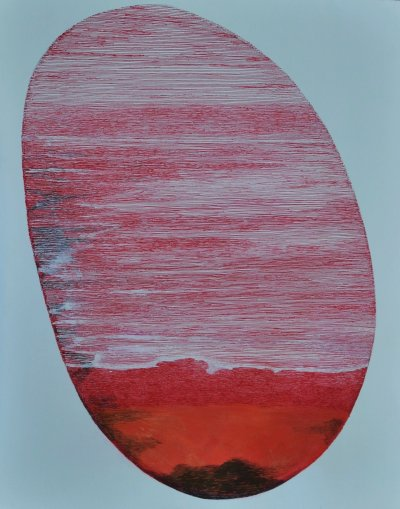 """Red piece of artwork called """"Distant Store"""" by Howard Frye"""