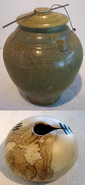 "collage of two pottery ""Vessels"" by Jo and Hugh Jeffers"