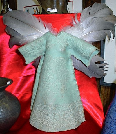 Winged Goddess, with teal dress and gray wings by Linda Wiegert