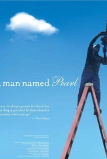 Man Named Pearl with sky background and man on a ladder
