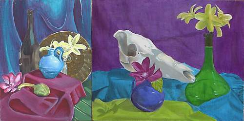 Two colorful paintings of flowers in blue, green and pink