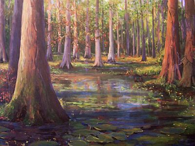 Painting of pond and trees by Millpond