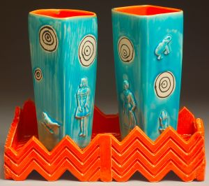 What a Pair, ceramic, Paula Smith in blue and orange