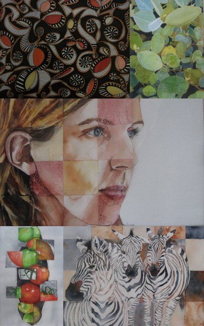 Five collages of different types of artwork