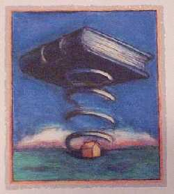 Panting of a book spiraling on top of a house