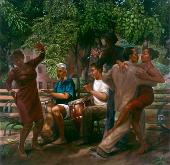 "Tompkins Square by Robert Garey. Oil on canvass. 52""x 50"". 1998."