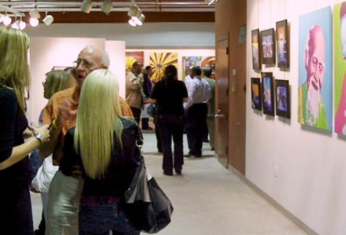 People talking at Senior Art Show