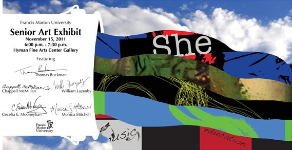 "Colorful ""She"" Senior art exhibit with signatures"