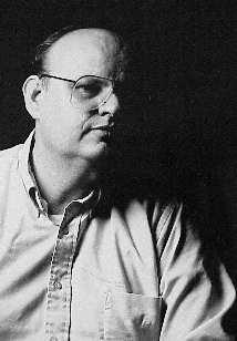 Black and white photo of Stephen Nevett, artist