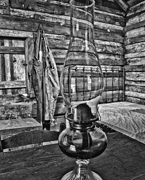 Passage in Time by Tari Federer, black and white photo of lantern and bedroom