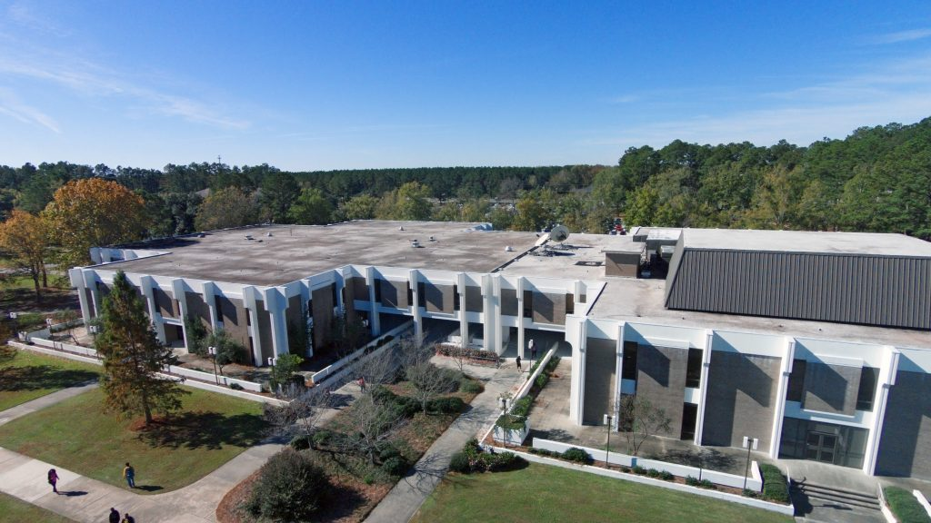 Top View of Founders Hall, the Breezeway and CEMC