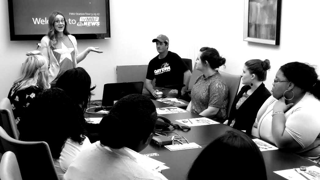 Students visiting WMF News station
