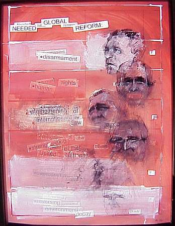 Bush Made artwork that's red with men's faces